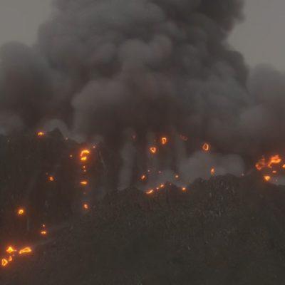 火山噴火再現カット