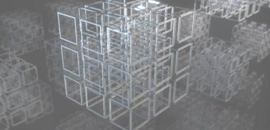 3DCGの立方体イメージが回転する背景用動画
