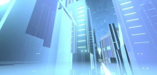 ビル街を進んでいくイメージCG