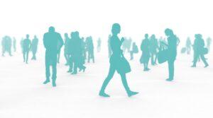 人々、群衆イメージ青緑
